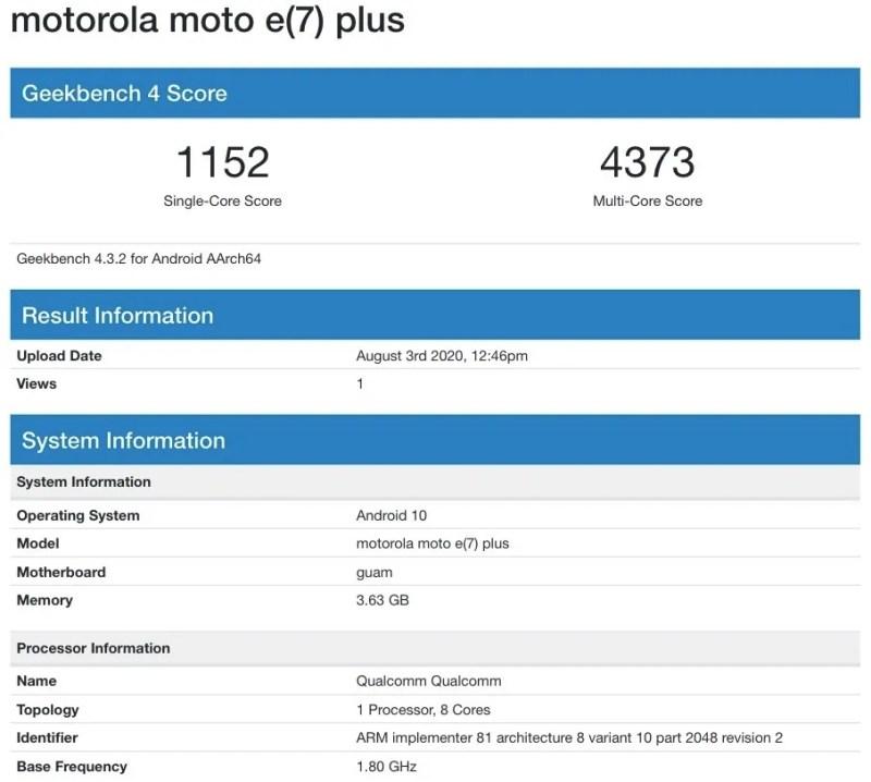 Moto E7 Plus Geekbench