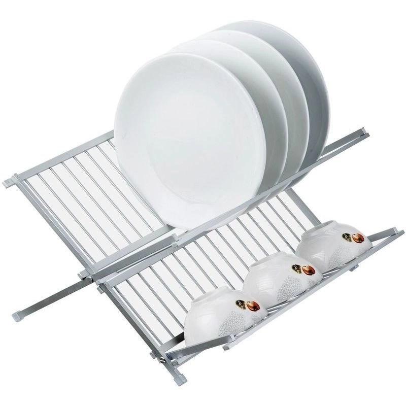 aluminium alloy rustproof foldable dish rack drainer