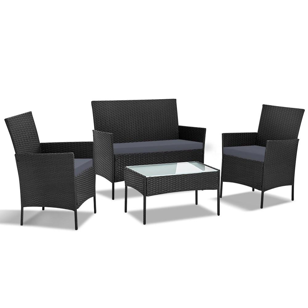 outdoor furniture outdoor lounge setting wicker sofa set patio cushions gardeon 4pcs black