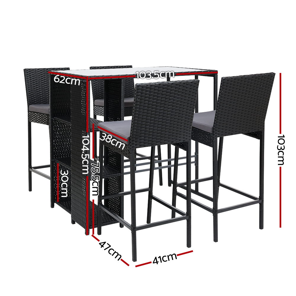 outdoor bar set table stools furniture dining chairs wicker patio