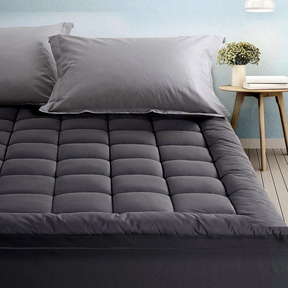 giselle charcoal bamboo fibre pillowtop mattress topper queen