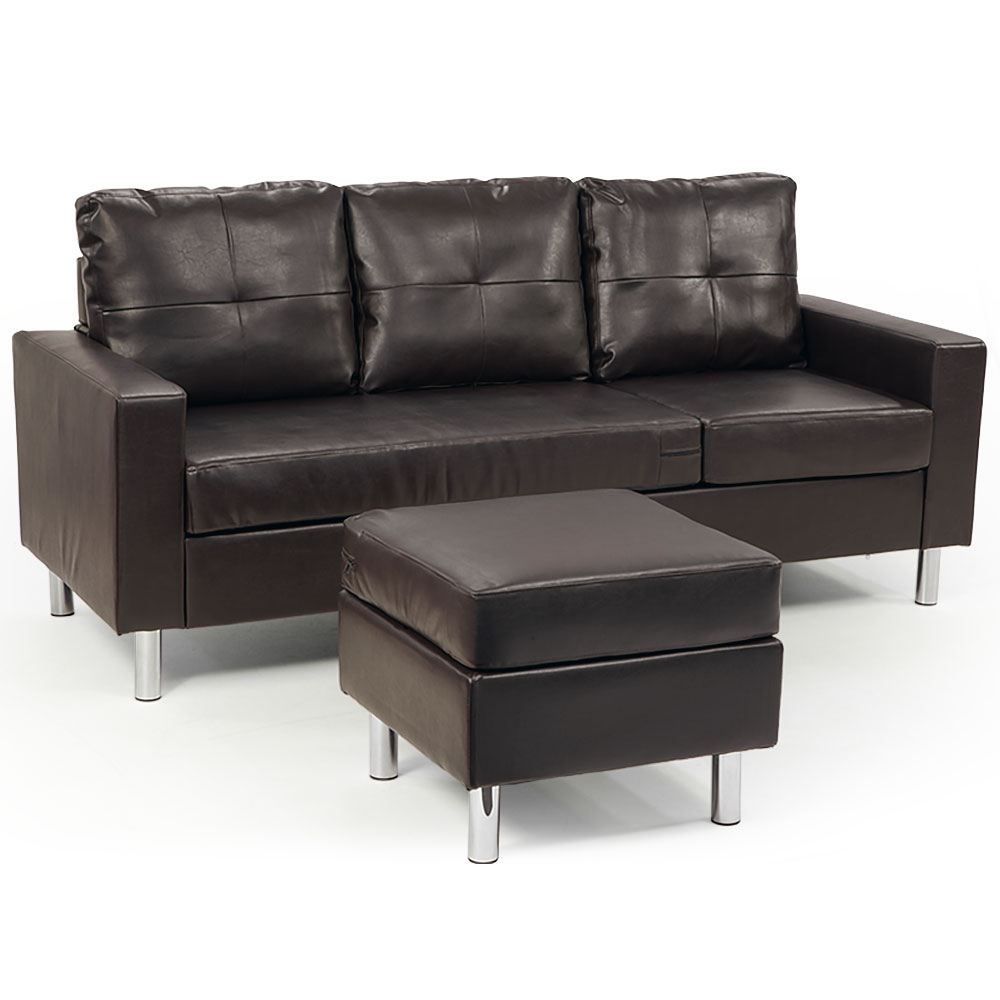 corner sofa lounge couch modular furniture chair home faux leather chaise brown