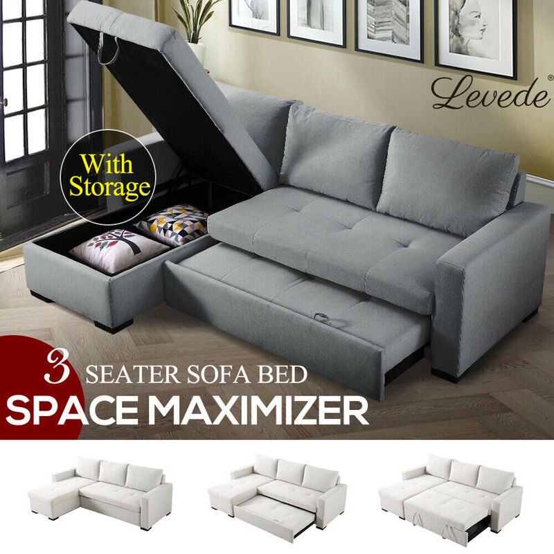 levede 3 seater sofa bed set storage corner futon fabric lounge chaise couch au