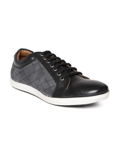 Knotty Derby by Arden Men Black & Grey Quilted Sneakers