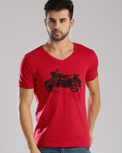 Masculino Latino Red Printed T-shirt