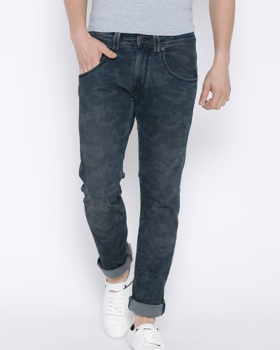 Levis Navy Washed Skinny Straight Fit Jeans 65504