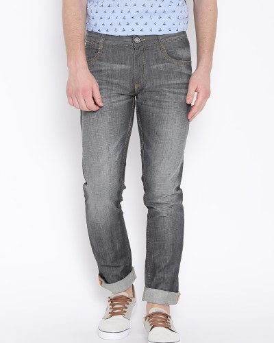 John Players Grey Washed Slim Fit Jeans