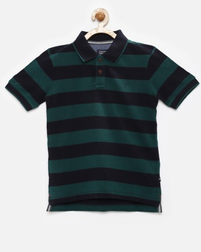 Indian Terrain Boys Navy & Green Striped Polo T-shirt