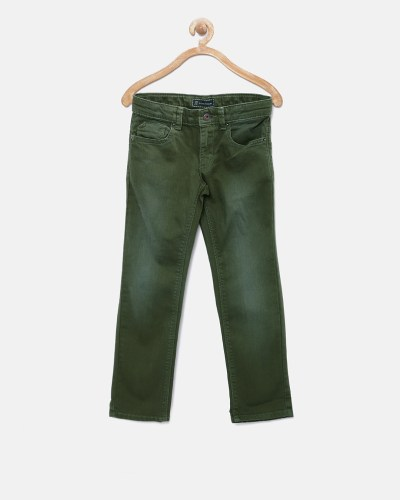 Indian Terrain Boys Olive Green Stretchable Jeans