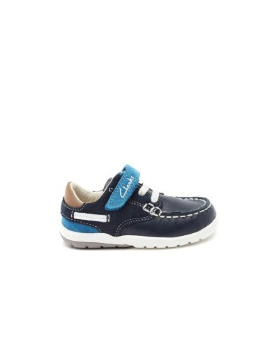 Clarks Boys Navy Leather Casual Shoes