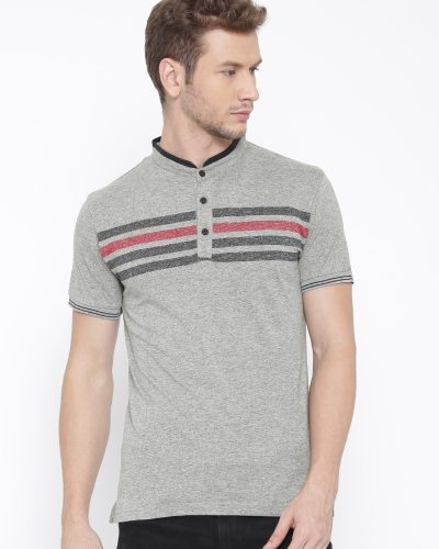 Fort Collins Men Grey Melange Striped Mandarin Collar T-Shirt