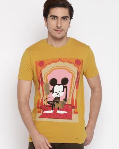 Jack & Jones Men Yellow Printed Round Neck T-Shirt