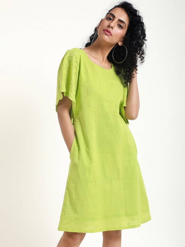 buy truebrowns women green embroidered a line dress