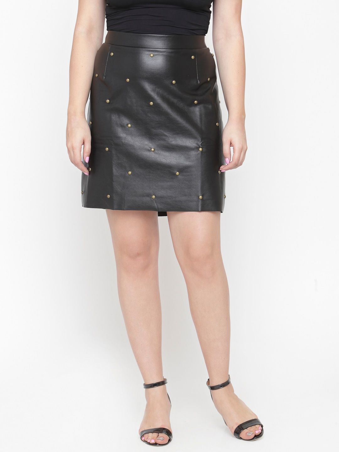 Black Faux Leather Studded Pencil Skirt for women of plus size