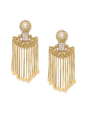 Panash Off White Gold Plated Stone Studded Chandelier Earrings