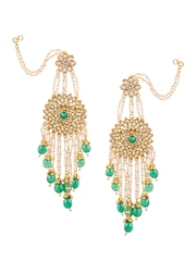 Sia Art Jewellery Gold Toned Green Fl Chandelier Earrings With Chain