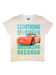 Cars Boys Off White Printed Round Neck T Shirt