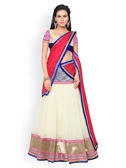 Touch Trends Cream-Coloured Georgette & Velvet Semi-Stitched Lehenga Choli with Dupatta