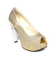 BASE ONE ONE Women Gold-Toned Peep-Toes