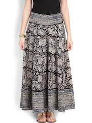 Fabindia Beige & Black Kalamkari Printed Flared Maxi Skirt