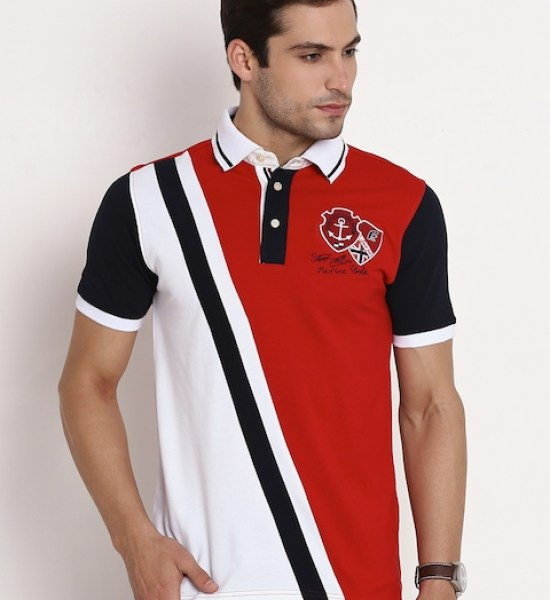 Fort Collins Red & White Colourblocked Polo T-shirt