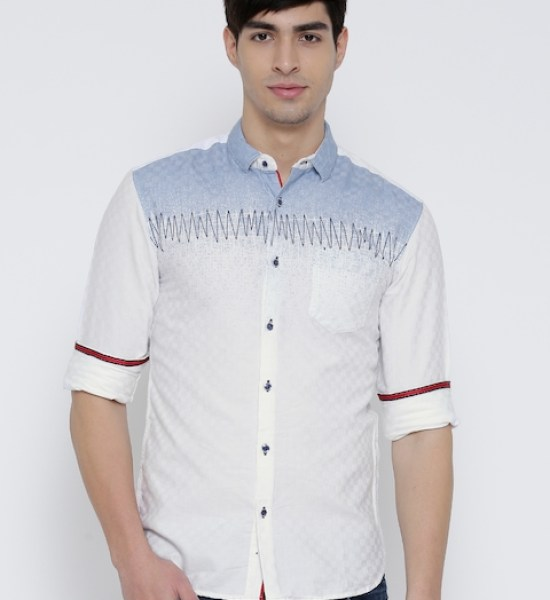 Locomotive White Printed Casual Shirt