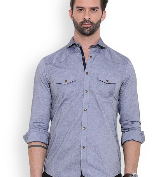 MR BUTTON Grey Structured Fit Casual Shirt