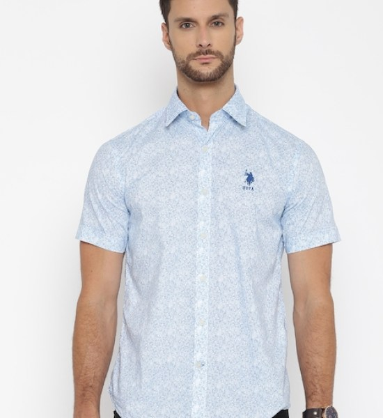 U.S. Polo Assn. Men Blue Tailored Fit Printed Casual Shirt