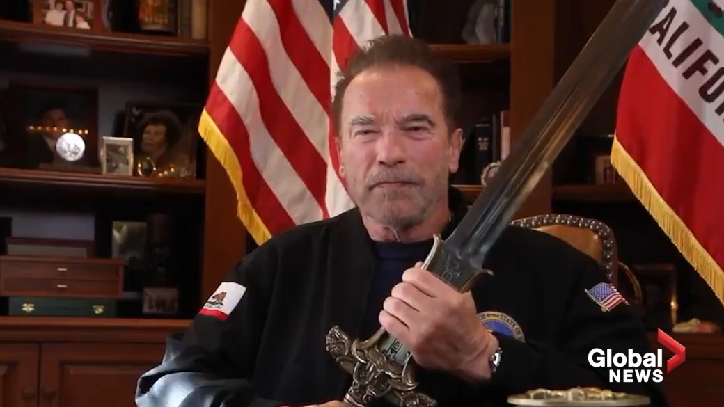 Click to play video 'U.S. Capitol riot: Arnold Schwarzenegger blasts Trump as 'worst president ever' while holding Conan the Barbarian's sword'