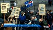 Play video: Quebec sovereigntists and French-language activists rally in Montreal
