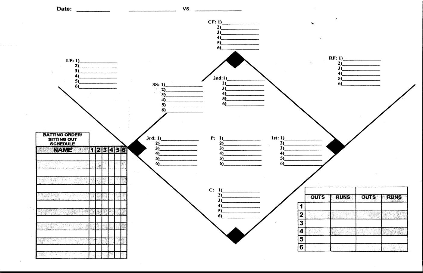 Baseball Field Position Sheet