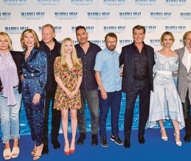 Pierce Brosnan Lily James And Benny Andersson Pose At A Photocall Ahead Of The Sweden Gala Premiere Of The Movie Mamma Mia Here We Go Again
