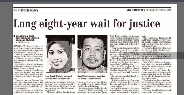 A report in the New Straits Times dated Dec 20, 2008. It was an interview with the late Noor Suzaily's father Mukhtar Ibrahim on Hanafi Mat Hassan's sentence. -NSTP/File pic