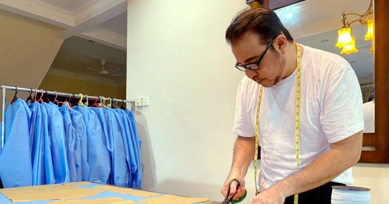 Renowned fashion designer Radzuan Radziwill stitches PPE for frontliners