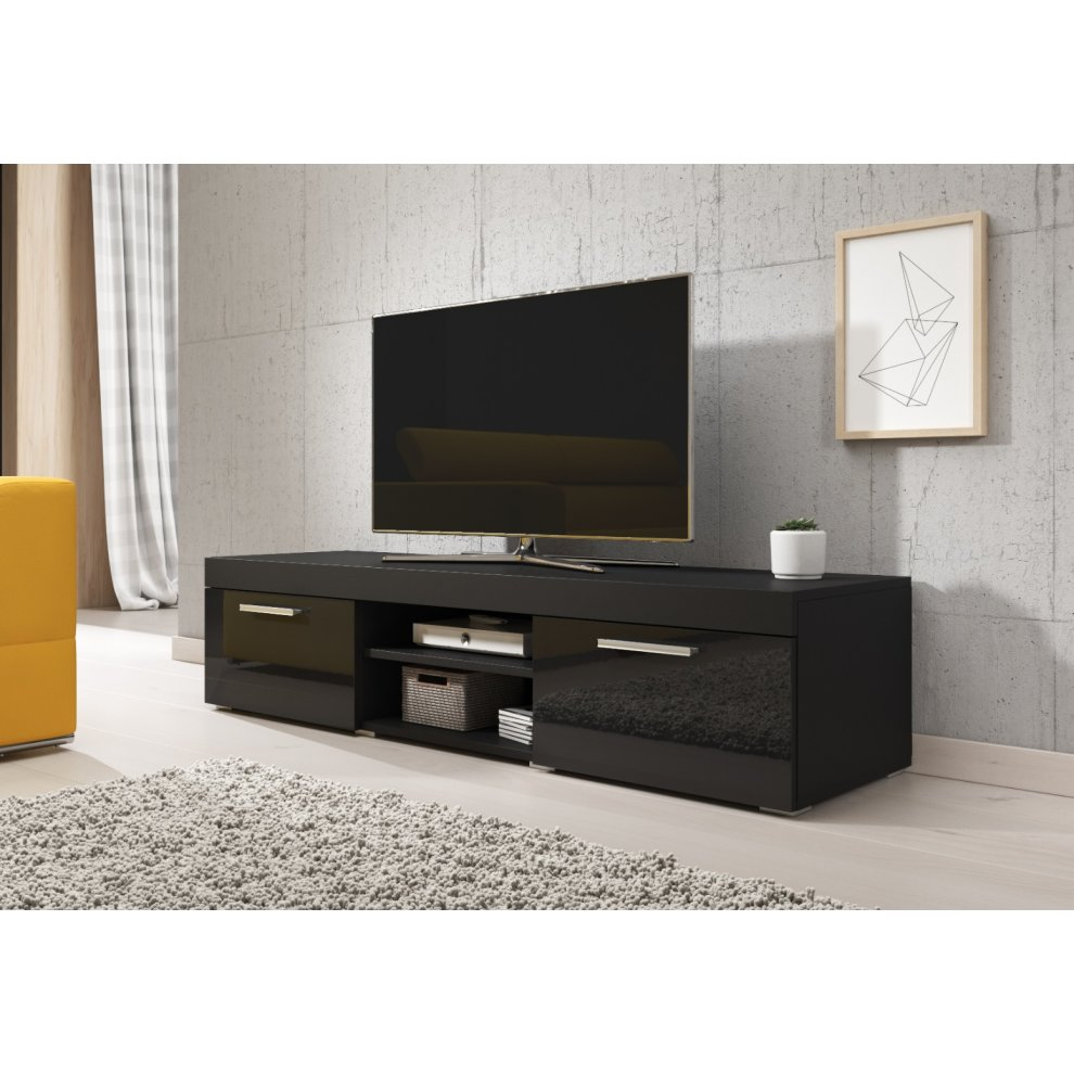 black e com tv unit cabinet stand paris 140 cm
