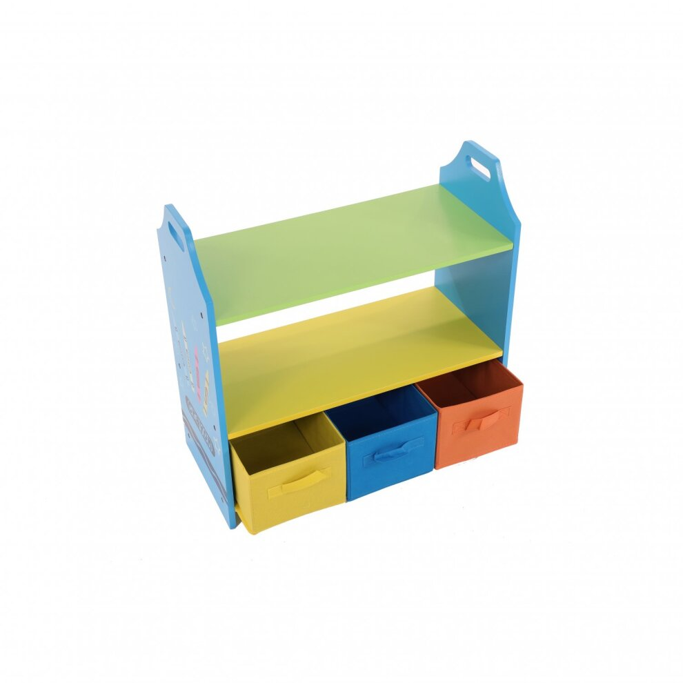 Oypla Colourful Childrens Toy Storage Crayon Unit Shelves With 3 Drawers Chest On Onbuy
