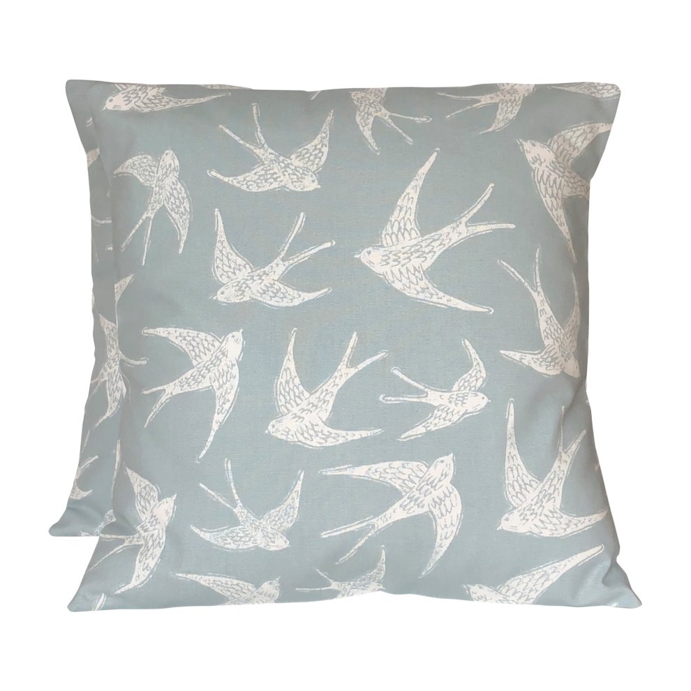 2 x 16 fly away birds duck egg blue off white cushion covers