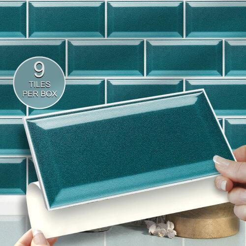 9pk teal metro self adhesive wall tile stickers 8 x 4