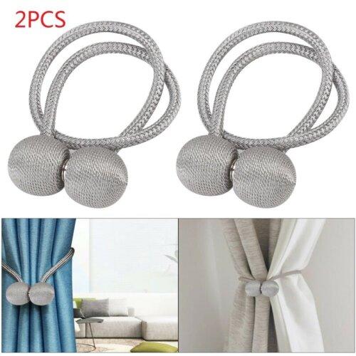 2 silver magnetic ball curtain tiebacks tie backs buckle clip