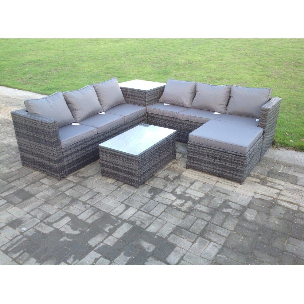 rattan sofa set garden corner l shaped outdoor patio furniture set