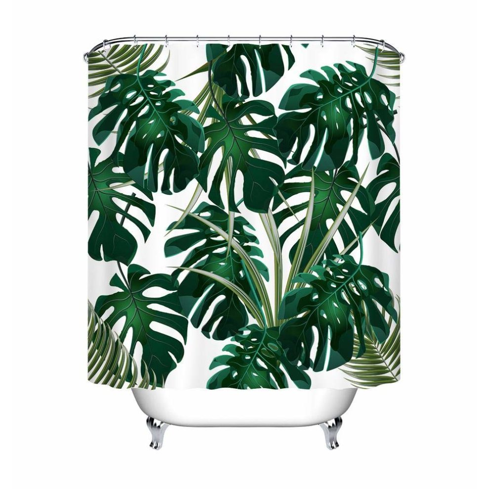 lb jungle tropical palm leaves shower curtain green monstera floral white background bathroom curtains water resistant anti mold polyester fabric