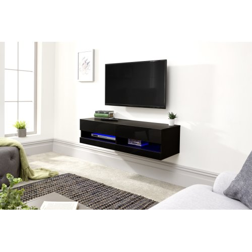 furniture grey galicia 120cm wall tv unit with led light living room home furniture diy itkart org
