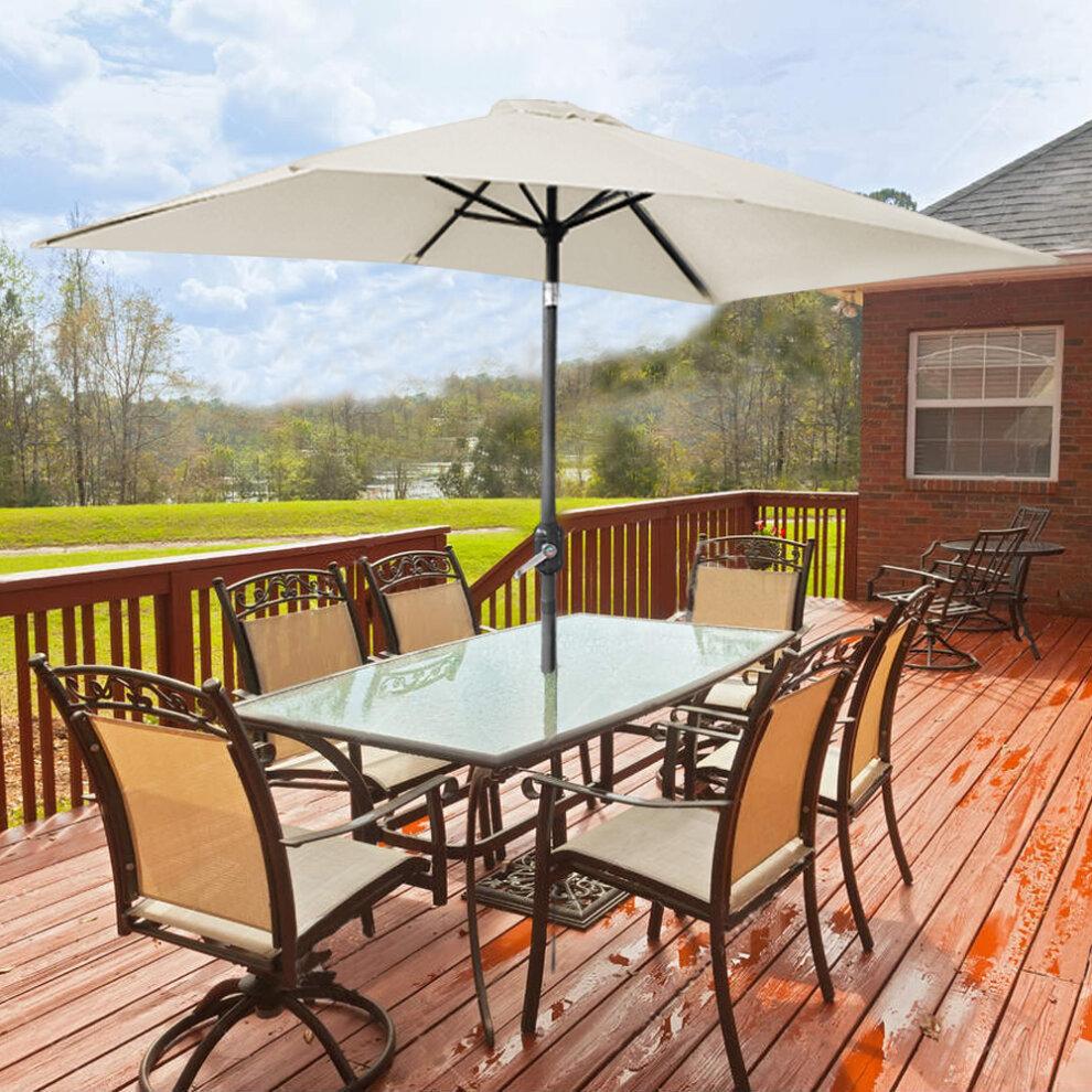 garden parasol 3x2m outdoor patio umbrella sun shade canopy crank tilt uv protection beige