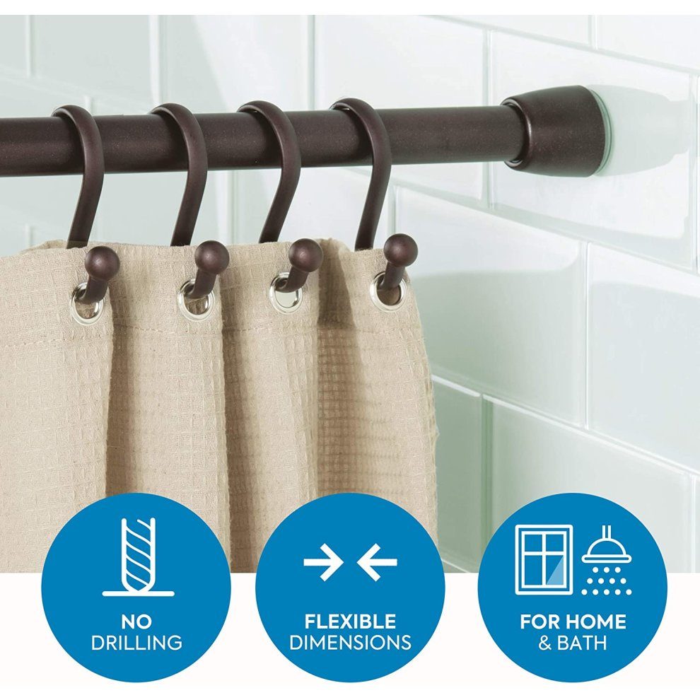 idesign shower curtain rail 127 221 cm long metal tension rod with no drilling telescopic shower curtain pole for bathroom and shower bronze