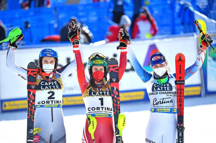 The winners of the women's World Cup slalom, Petra Vlhova, Katharina Liensberger and Mikaela Shiffrin