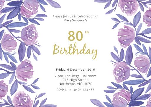 80th birthday invitations customise