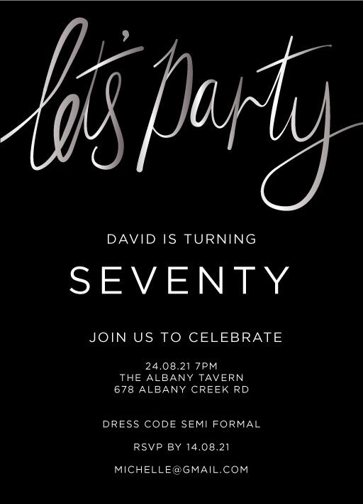 70th birthday invitations customise
