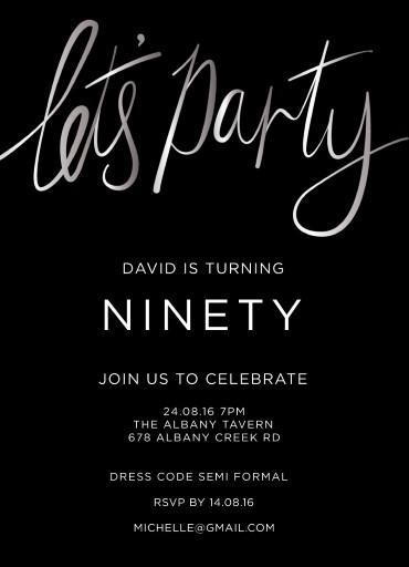 90th birthday invitations customise
