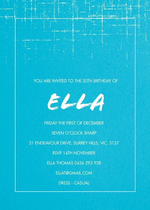 20th birthday invitations