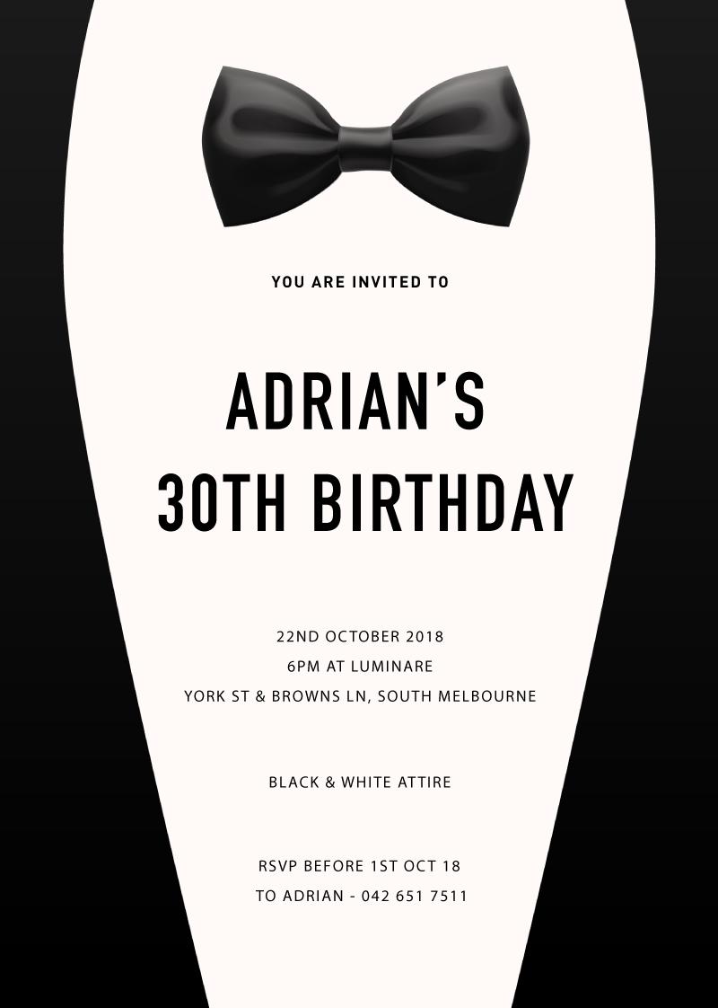 formal birthday invitation cards